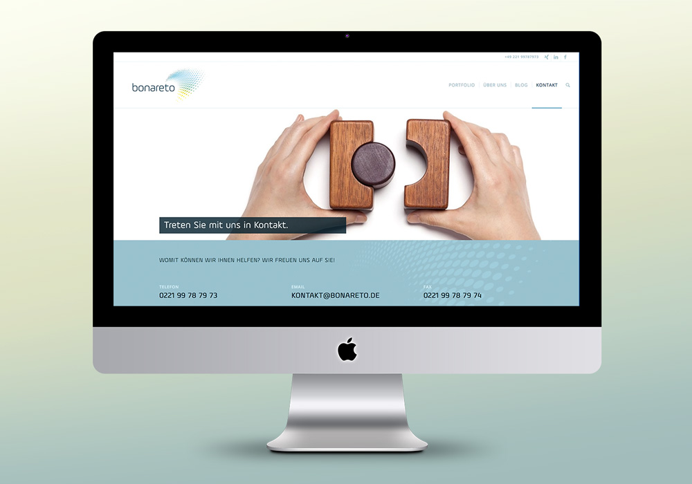 Responsive Website, bonareto, Desktop, Kontakt, Screen | DESIGN