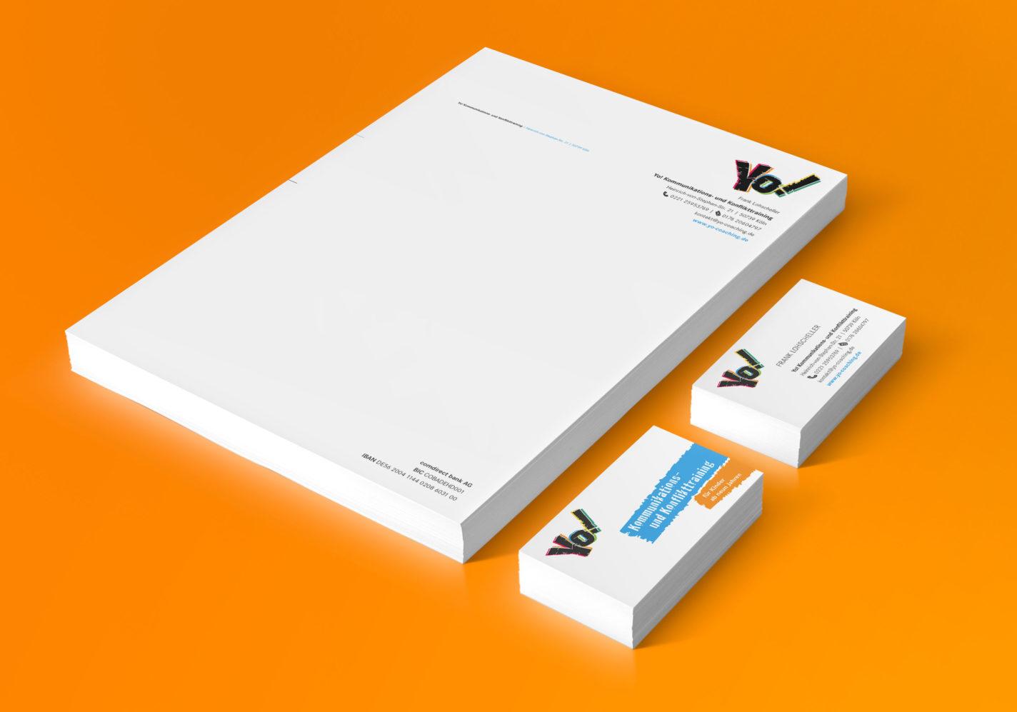 Marktauftritt Yo! Briefpapier und Visitenkarte | DEPUNKT