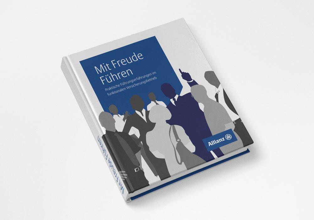 Editorial Design, Allianz, Buch, Mit Freude führen, Titel | DEPUNKT