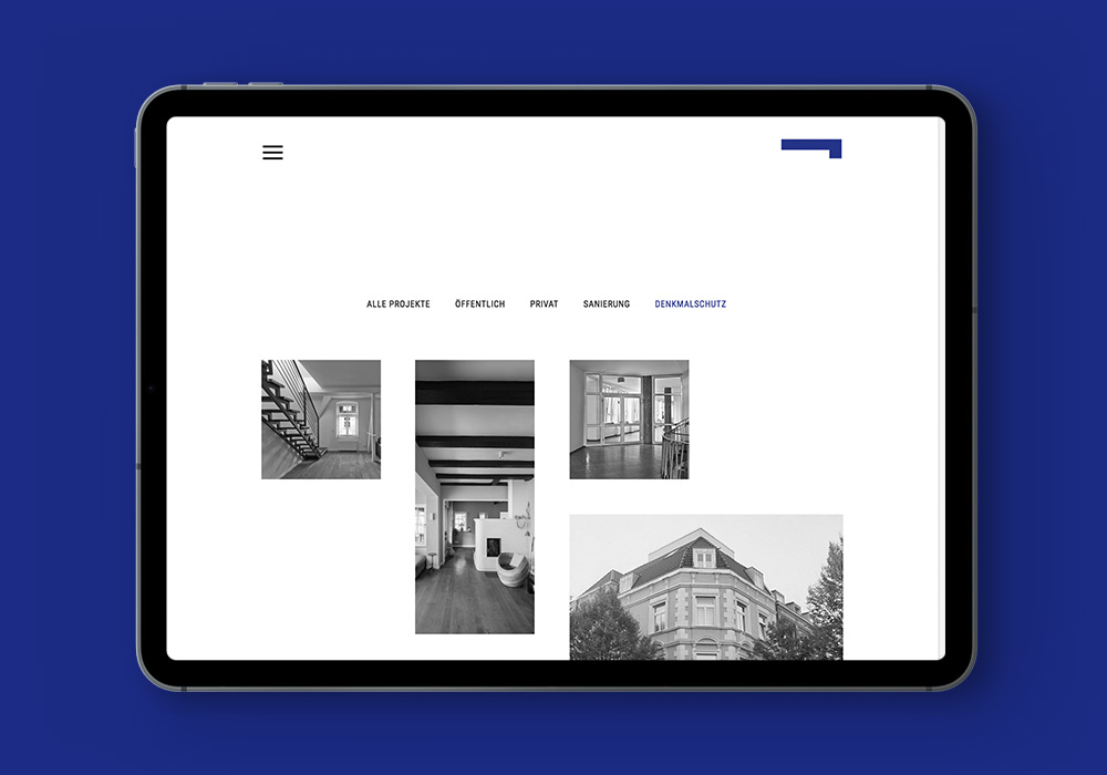 Corporate Website Architekt Rettberg, Projekte, Ipad-quer-Screen | DEPUNKT